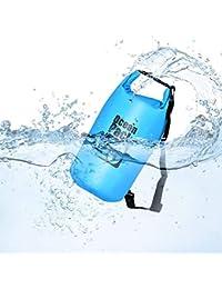 Queta Dry Bag/Wasserdichter Trockenbeutel 10L/15L/20L Wasserfeste Tasche Ideal für Boot, Angeln, Rafting, Schwimmen und Camping Schützt Deine Wertsachen und Kleidung vor Wasser, Sand und Schmutz Blau