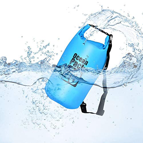 Queta Dry Bag/Wasserdichter Trockenbeutel Wasserfeste Tasche Ideal für Boot, Angeln, Rafting, Schwimmen und Camping Schützt Deine Wertsachen und Kleidung vor Wasser, Sand und Schmutz Blau (20L)