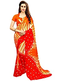 White World Women's Georgette Printed Orange Color Saree With Blouse Piece