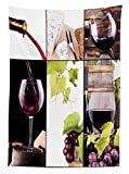 Yeuss Wine Nappe, Collage de vin avec Baril de Bouteille Verre à vin Raisin goût Gourmet Boisson, Housse de Table rectangulaire de Salle à Manger Cuisine, Bourgogne Vert Clair Blanc, 60x120 Pouces