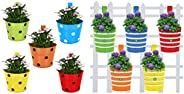 TrustBasket Single Pot Railing Planter (Multicolour, Pack of 5) and Trust Basket Round Ribbed Railing Planters