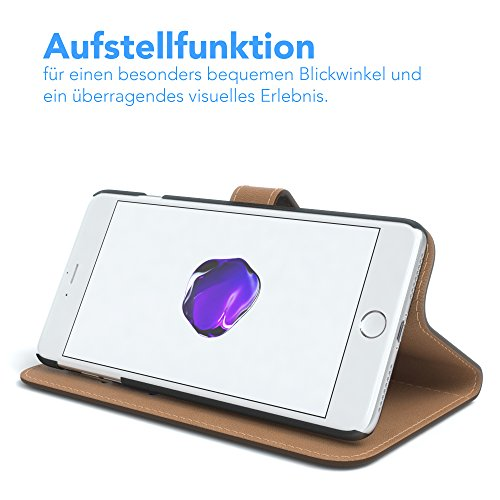 "iPhone 8+ Hülle / iPhone 7+ Tasche - EAZY CASE Bookstyle Cover ""VINTAGE"" Klapphülle für Apple iPhone 7 Plus & iPhone 8 Plus - Edle Schutzhülle als Geldbeutel mit Kartenfach in Schwarz Braun - Uni"