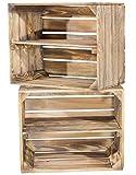 2er Set geflammte Kiste für Schuh- und Bücherregal - neue Obstkisten Holzkisten Apfelkisten Weinkisten Dekokisten mit Zwischenbrett - schönes Obstkistenregal mit flammbierter Optik 50x40x30cm