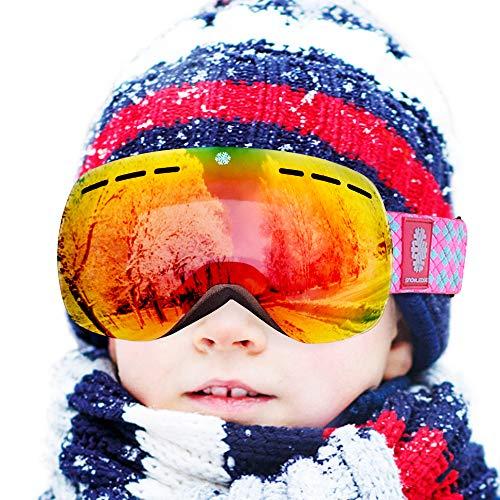 Snowledge Skibrille Kinder Ski Goggles Kids Rahmenlos Wechselobjektive Uvex Skibrille Verspiegelt Anti-Beschlag Helmkompatible OTG für Jugendliche von 8-15 Jahren (Rot)