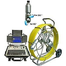 60m 11mm cable de diámetro varilla de empuje Alcantarillado serpiente cámara de inspección con 512hz Sonde Pan Tilt cámara y función de contador de metros
