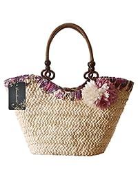 Donalworld Sac à main de paille de maïs Motif Fleurs Mer Sac de plage tissé Sac d'été pour femmes