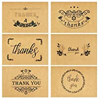 Thank You Cards -36 Pack Brown Kraft Paper with 6 Different Design of Thank You Cards with Envelopes,for All Occasions Including Graduation,Weddings,Business and Baby Showers, 4 x 6 Inch Blank Inside
