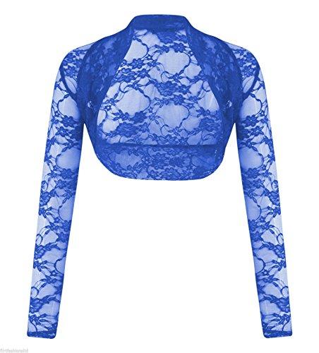 MIXLOT Nouvelles femmes Bolero à manches longues à manches longues en dentelle Sheer Mesh Shrug Royal Blue