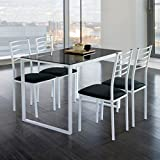 Mesa de cocina con 4 sillas en negro, y tapa de cristal negra conjunto completo barato