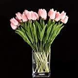 Sonline 10pcs Tulip Flower Latex Real Touch for Wedding Bouquet Decor Best Quality Flowers (pink tulip)