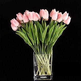 SODIAL(R) 10pcs Flor Del Tulipan De Latex Del Tacto Por Ramo De La Mejor Calidad Real Para Decorar De La Boda (Tulipan Rosa)