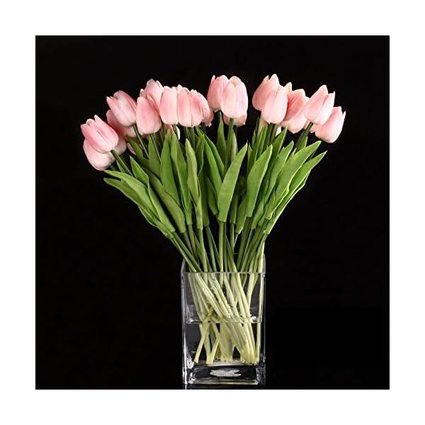 SODIAL(R) 10pcs Flor Del Tulipan De Latex Del Tacto Por Ramo De La Mejor Calidad Real Para Decorar De La Boda (Tulipan…