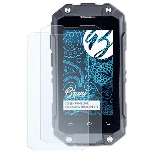 Bruni Schutzfolie für Simvalley-Mobile SPT-210 Folie, glasklare Bildschirmschutzfolie (2X)