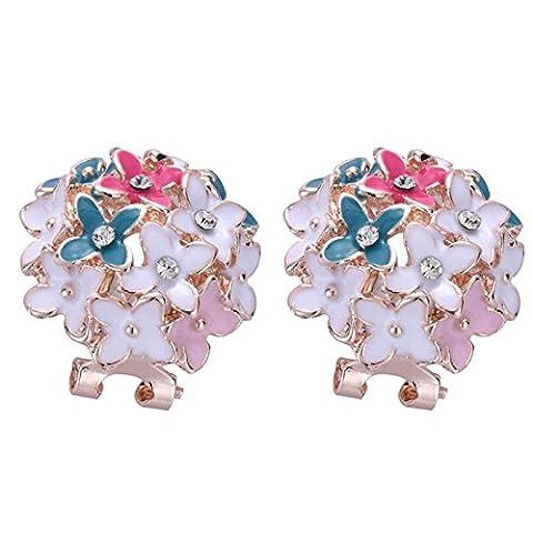 XZQ-Heiße Mode Frauen Mädchen Vergoldet Flower Cluster Crystal Ohrclip Ohrstecker, Farbe
