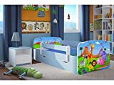 Kocot Kids Kinderbett Jugendbett 70x140 80x160 80x180 Blau mit Rausfallschutz Matratze Schubalde und Lattenrost Kinderbetten für Junge - Safari 180 cm