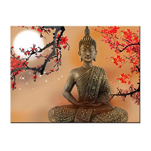 WACYDSD Puzzle 1000 Piezas Puzzle 3D Sala De Estar Arte De La Pared Flores Y Buda Zen Fotos Hdbuddhism Poster Home Decor