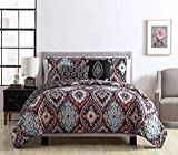 Vcny Home Coria 5 Piece Reversible Ogee Quilt Set King Burgundy
