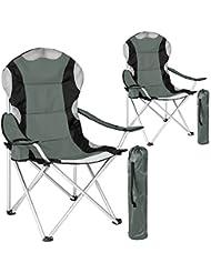 TecTake 2x Chaise de camping fauteuil pliable avec porte-boisson et sac de transport - rembourrage en mousse Ø Cadre: environ 18 mm