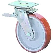 BS ruote pesanti–Rotella con fermaporta, Piastra di ancoraggio, poliuretano–Ruota in ghisa, corpo, 125mm, rr120.c10.125