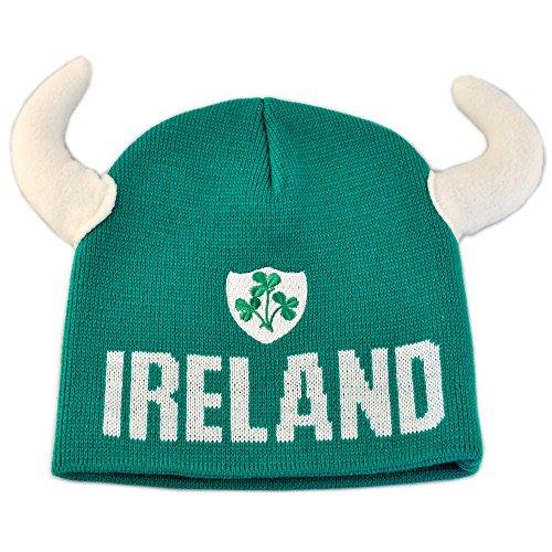 Mütze mit Wikinger-Hörnern und Irland-Wappen grün