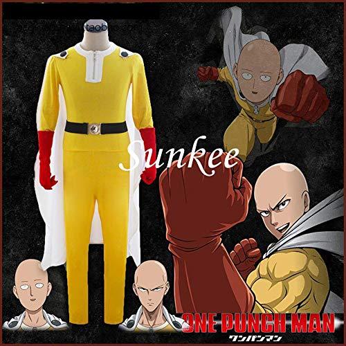 Kostüm Cosplay Saitama - Sunkee One Punch Man Kapuzenpullover Saitama Oppai Cosplay Ausstattung Overall Kostüm, Größe L ( Alle Größe Sind Wie Beschreibung Gesagt, überprüfen Sie Bitte Die Größentabelle Vor Der Bestellung )