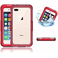 iPhone 8 Plus Impermeable Cover, MingKun Concha Protectora Impermeable para iPhone 7 Plus Caso iPhone 8 Plus 5.5 Pulgada TPU Silicona Flexible Bumper Protectora Carcasa