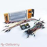 AZDelivery ⭐⭐⭐⭐⭐ MB 102 Breadboard Kit - 830 Breadboard + Netzteil Adapter 3,3V 5V + 65Stk Steckbrücken für Arduino …