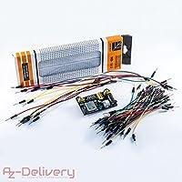 AZDelivery ⭐⭐⭐⭐⭐ MB 102 Kit électronique : 830 platine d'essai à 830 points breadboard + adaptateur secteur (3,3V/5V) + 65 morceaux de câbles (connecteurs) pour Arduino