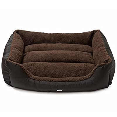 Snugpaws Luxury Easy-Clean Washable Dog Pet Bed | Medium | Brown | Rectangular/Square Bolster/Nest with Removable Covers
