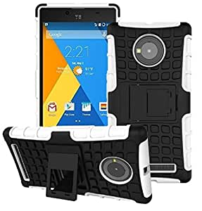 Heartly Flip Kick Stand Spider Hard Dual Rugged Armor Hybrid Bumper Back Case Cover For YU Yuphoria YU5010 5010A - Best White