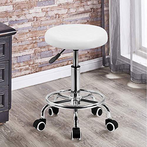 Merax Drehhocker, Barhocker Arbeitshocker Hocker Gepolsterter Sitzfläche Kosmetikhocker Praxishocker mit Rollen, 360° frei drehbar Rollhocker Höhenverstellbar, bis 100kg (Weiß)