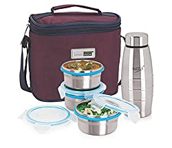 Steel Lock Airtight & Leak Proof Stainless Steel Lunch Box With 3 Containers & 1 Bottle.