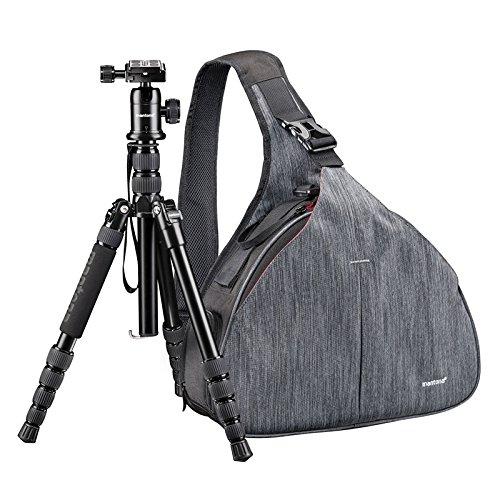 Mantona Triangel Kamera- und Stativtasche grau inklusive DSLM Reisestativ mit Kugelkopf