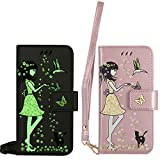 BestCatgift für Samsung Galaxy S3/9300 Hülle [Luminous Woman Cat Design] PU Leather Flip Wallet Cover Protective Shell with [Wrist Strap] - Rose Gold