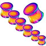 Set oder Einzeln Plug Flesh Tunnel Piercing Piercingschmuck Ohr nach Dehnstab Expander Ohrstecker Ohrschmuck Rainbow, Farbe:Alle Größen 2-10mm