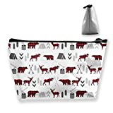 Buffalo Plaid Woodland Moose Pencil Case Pen Zipper Bag Coin Organizer Makeup Costmetic Storage Bag Pouch