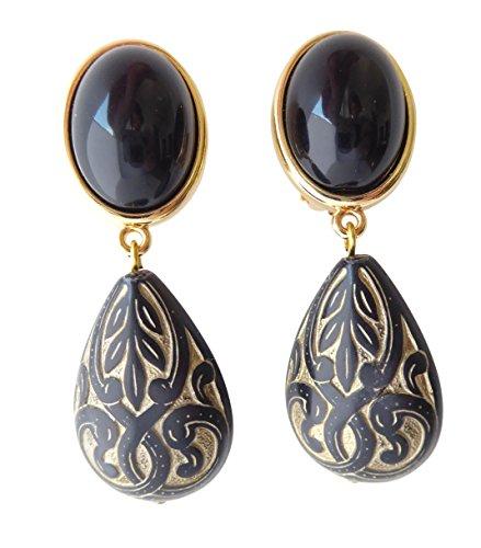 Schwarze sehr leichte große Clip-Ohrstecker Ohrringe vergoldet Anhänger tropfen-förmig Ornamente Hingucker Statement Fashion Designer ()