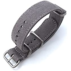 MiLTAT 20mm Washed Canvas Zulu Military Grey Double Thickness Watch Strap, Lockstitch Hole