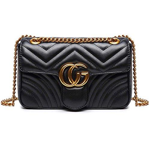ne Goldkette Gesteppte Umhängetasche Mini Cross Body Damen Handtasche Clutch Classic Abendtasche (Schwarz, 23 * 15 * 7cm) ()