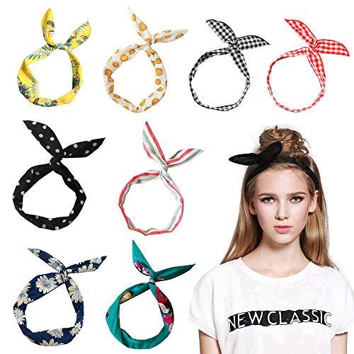 Aissy Damen Stirnbänder,8 Stück Cute Bunny Ohr Twist Bow Wired Biegbares Kopfband Haarband für Damen