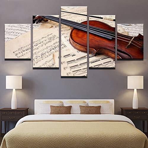 Gjyddvs HD Drucke Bilder Wohnkultur Wandkunst Poster 5 Stücke Violine Und Musik Partitur Gemälde Auf Leinwand Wohnzimmer Dekor Rahmen