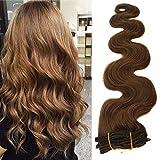 20 polliciL/50cm unghi capelli ricci nelle estensioni Ash Brown reale estensioni dei capelli umani 70 grammi 7pcs Morbido termoresistente clip dell'onda del corpo nelle estensioni (20 pollici. # 8)