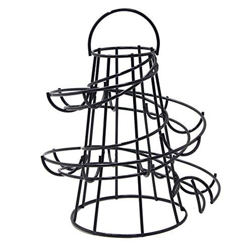 Yontree Soporte Egg Egg Skelter Dispensador Espiral de Huevos de metal de alta calidad Accesorio de cocina, negro