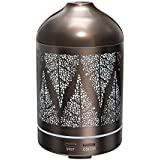 Humidificador Aromaterapia TaoTronics 100ml Difusor de Aceites escenciales (Aromas Elétricas, Ultrasónico, 10W, 7 colores de luz, Ambientador de Vapor Frío, Funda de Acero Inoxidable, Diseño clásico, luz nocturna)