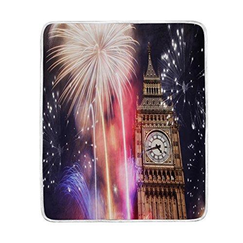 Use7 Home Decor Firework London Big Ben Cityscape Manta Suave cálida Manta...