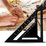 Squadra Triangolo righello angolare rapporteur strumento di misura in lega di alluminio di alta precisione 12pollici, Nero