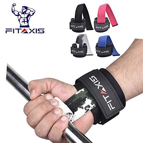 FITAXIS Profi Zughilfen [Gepolstert] für Krafttraining, Bodybuilding & Fitness Lifting Straps für Frauen & Männer - 2 Jahre Garantie   Paarweise verkauft (60cm) (DIGI CAMO Green, 12