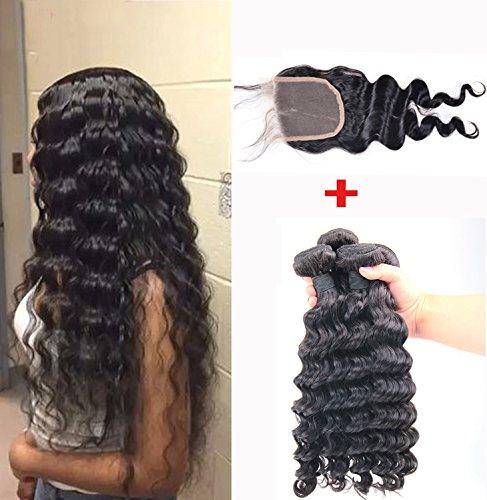 Helene Hair 8A Non Transformé Brazilian Hair Virgin Remy Lâche profond 3 faisceaux avec fermeture pour femme (26 28 30 with 20closure)