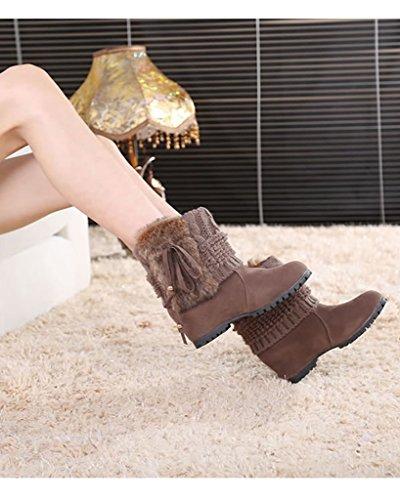 Minetom Damen Winter Mode Stiefeletten Kaninchenfell Wasserdicht Keil Flache Schuhe Warm Schneestiefel Braun