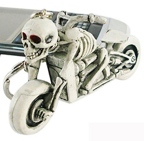 Schlüsselanhänger Motorrad mit Skelett, weiss/grau Schlüssel Anhänger Skull Bike, wadle-shop